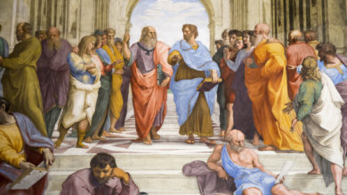 """Image: Raphael, """"School of Athens"""" (detail of Plato and Aristotle), 1509-1511. Stanza della Segnatura, Palazzi Pontifici, Vatican"""